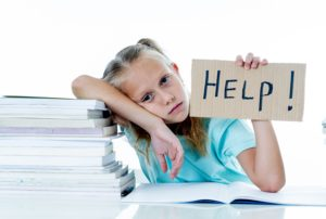 stress girl requesting help in tutoring